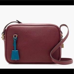 J Crew  Italian Leather Signet Bag In Burgundy